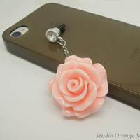1PC  Resin Rose Flower Charm Earphone Antidust Plug Charm for iPhone 5 & 4, Samsung S4 S3, Nokia, HTC