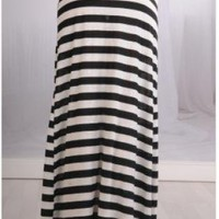 Black and White Horizontal Striped Maxi Skirt
