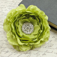 Apple Green Flower Hair Clip, Bridal Hair Piece, Bridesmaid's Green Wedding Hair Accessory by Flower Couture