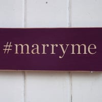 Marry Me Carved Wood Wedding Sign