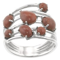Sterling Silver Red Jasper Multi-Stone Ring, Size 8