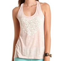 Braided Back Crochet Heart Tank: Charlotte Russe