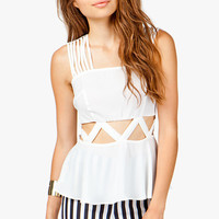 CUT-OUT WAIST STRAPPY PEPLUM TOP