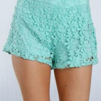 Mint High Waisted Crochet Floral Shorts