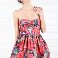 IGD38016 Fuchsia Multi Floral Petticoat Belted Dress and Shop Apparel at MakeMeChic.com