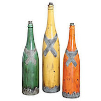 One Kings Lane - HGTV: Build Your Room - Painted Champagne Bottles, Asst. of 3
