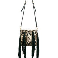 River Island Fringed Ikat Leather Cross Body Bag