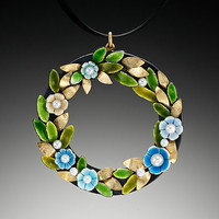 Wreath Pendant by Giselle Kolb: Enameled Necklace - Artful Home