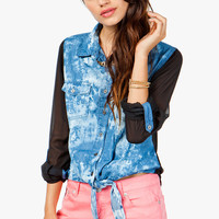 Bleached Denim Chiffon Back Shirt