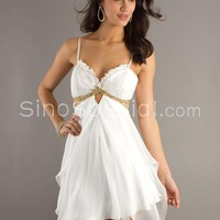Sweet White A-line Spaghetti Straps Empire Waistline Cocktail Dress-SinoSpecial.com