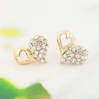 Heart in Contrast Rhinestone Earrings | LilyFair Jewelry