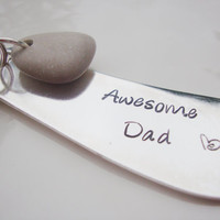 Gift for Dad hand stamped upcycled knife stamped awesome dad with heart