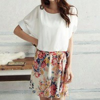 FLORAL DESIGN DRESS WITH TIE BELT