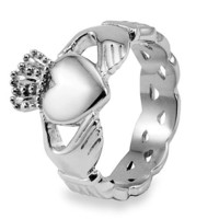Stainless Steel Claddagh Ring with Celtic Knot Eternity Design (6.0mm) - Size 6.0