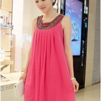 GLAM STUDDED CHIFFON DRESS (PINK)
