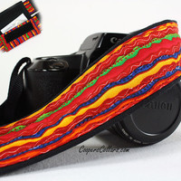 Wavy Stripe dSLR Camera Strap with pocket, Red, Royal Blue, Lime Green, Yellow, Purple
