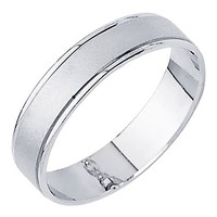 *** LASER ENGRAVING SERVICE *** 14K White Gold Matte Embossed Designer Wedding Band Ring for Men & Women [DETAIL INFORMATION - PLEASE CLICK AND CHECK THE ITEM DESCRIPTION] - Size 7