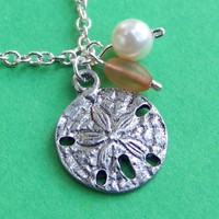 Beachcomber's Sand Dollar Necklace with Pretty Peach Glass Bead, Imitation Pearl, and Silver Chain