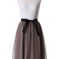 Rosebrown Tulle Dress with Belt