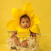 Eco-Friendly - Sunny Spring Daffodil Flower Baby Bonnet  Slip-on flower - All Yellow or Yellow with White petals