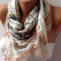 Ivory Beige - Turkish Shawl - Anatolians Scarf  - Very Soft cotton fabric.