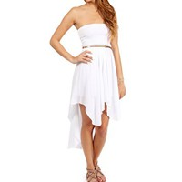 White Belted Smocked Hi Low