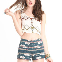 November Skies Printed Shorts By BB Dakota - $18.50 : ThreadSence, Women's Indie & Bohemian Clothing, Dresses, & Accessories