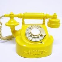Refurbished Retro Yellow Bell Rotary Telephone by FishboneDeco