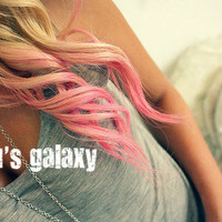 BUBBLE POP PINK pastel colored/ human remy hair/ clip-in hair/ dip dye ombre (2) hair extensions