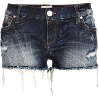 Dark wash distressed denim shorts