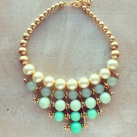 Pree Brulee - Large Statement Mint Pearl Bib Necklace