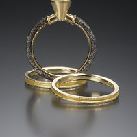 Wedding Ring Set by Robin Cust: Gold  Stone Wedding Band - Artful Home