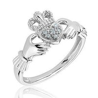 Sterling Silver and Diamond Claddagh Ring - Size 8