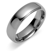 Double Grooved Rounded Top 7mm Comfort Fit Mens Tungsten Carbide Wedding Band Ring Size 8