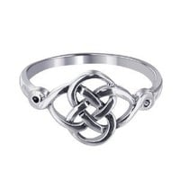 LWRS127-5 Sterling Silver Polished Finished 10 x 20mm Celtic Rounded Knot Design 2mm Wide Band Ring Size 5