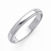 14K White Gold 3mm Plain Milgrain Wedding Band Ring for Men & Women (Size 4 to 12) - Size 12