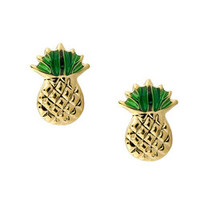 Gold over Silver Pineapple Earrings | Overstock.com