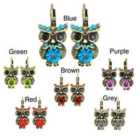Kate Marie Silvertone Acrylic and Crystal Owl Design Earrings | Overstock.com