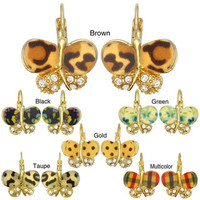 Kate Marie Goldtone Cubic Zirconia and Acrylic Butterfly Earrings | Overstock.com