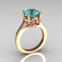 Etsy Transaction -          French Bridal 14K Pink Gold 3.0 Carat Aquamarine Solitaire Wedding Ring R301-14PGAQQ