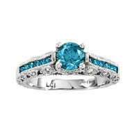 1.10ct tw Diamond Engagement Ring 0.70ct Blue Center - 6