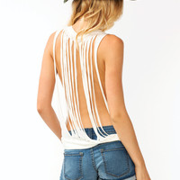 Slashed-Deep-Cut-Tank CHARCOAL IVORY - GoJane.com