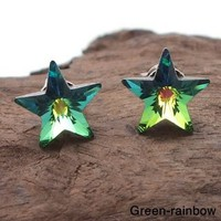 Prism Rainbow Crystal Star .925 Silver Earrings (Thailand) | Overstock.com