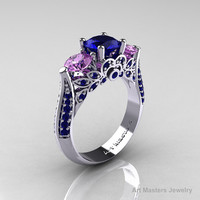 Etsy Transaction -          Classic 10K White Gold Three Stone Blue Sapphire Lilac Amethyst Solitaire Ring R200-10KWGLAMBS