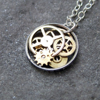 "Clockwork Pendant ""Aster"" Clockwork Abstract Elegant Circle Watch Gear Sculpture Delicate Necklace"