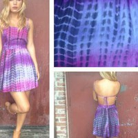 Purple Tie Dye Sleeveless Dress with Tie Open Back