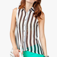 Striped Sleeveless Chiffon Shirt