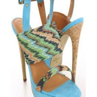 Blue Printed Fabric Heels