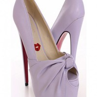 Light Purple Knotted Keyhole Toe Pump Heels