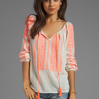 Velvet Adele Embroidered Crinkle Gauze Blouse in Milk/Coral from REVOLVEclothing.com